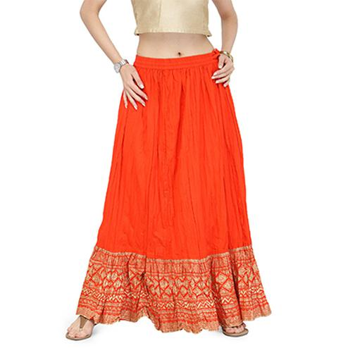 Orange Casual Wear Cotton Skirt