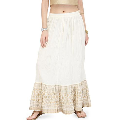 White Casual Wear Cotton Skirt