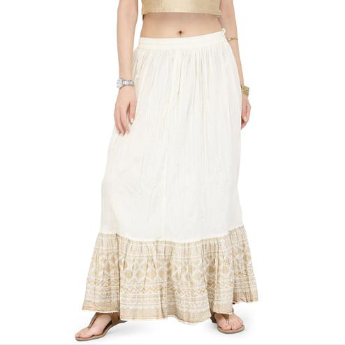 Demanding White Colored Partywear Printed Cotton Skirt
