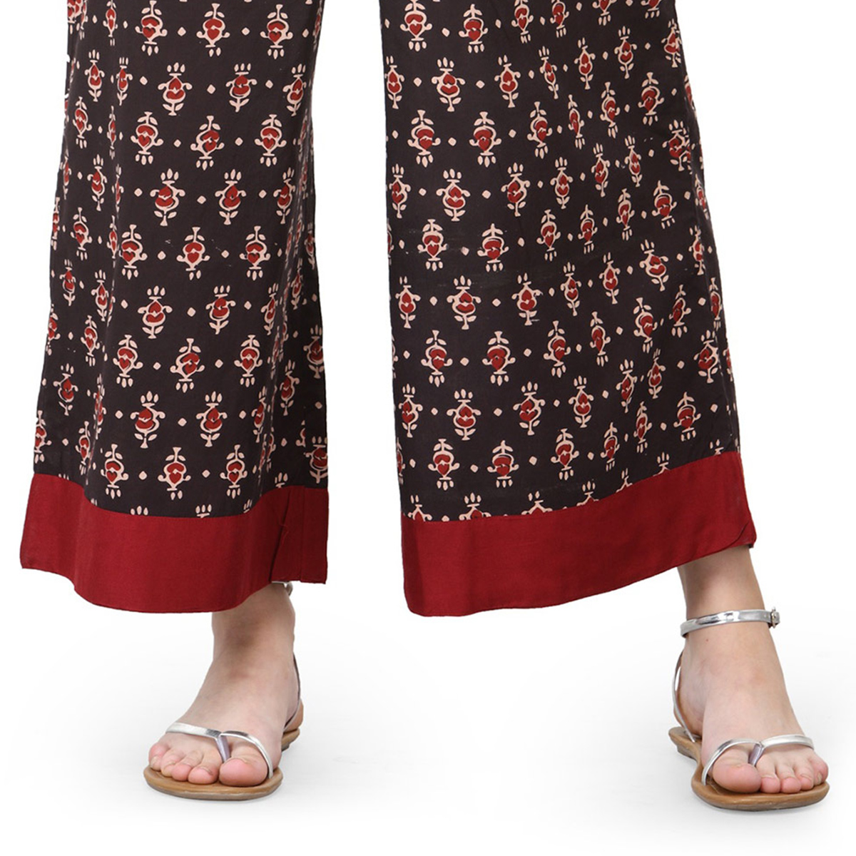 Brown Casual Wear Printed Cotton Palazzo