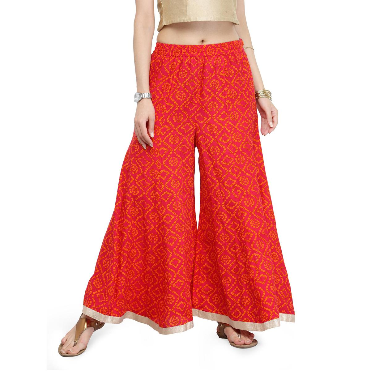 Red Printed Cotton Palazzo