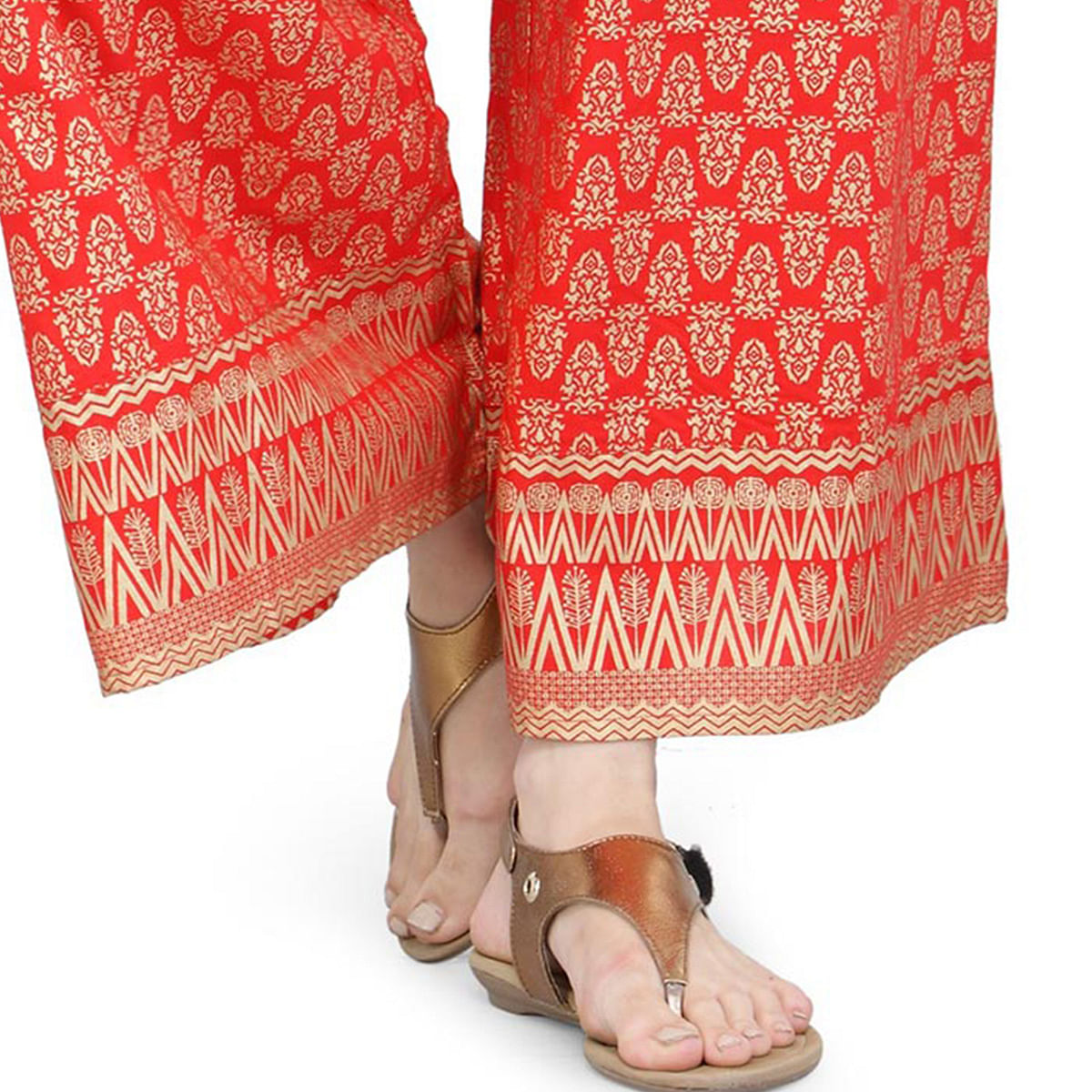 Red Casual Wear Printed Cotton Palazzo