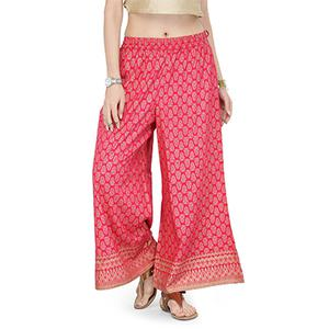 Pink Casual Wear Printed Cotton Palazzo