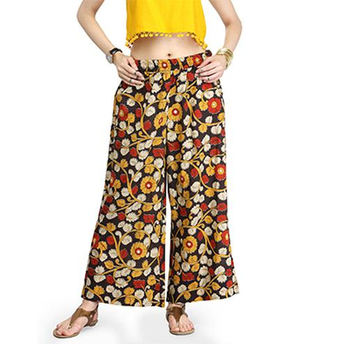Multi Colored Casual Wear Printed Cotton Palazzo