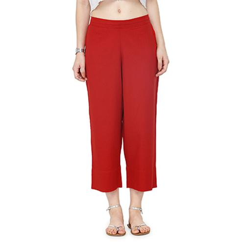 Red Casual Wear Cotton Palazzo