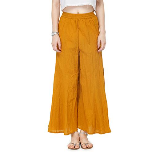 Mustard Yellow Casual Wear Cotton Palazzo