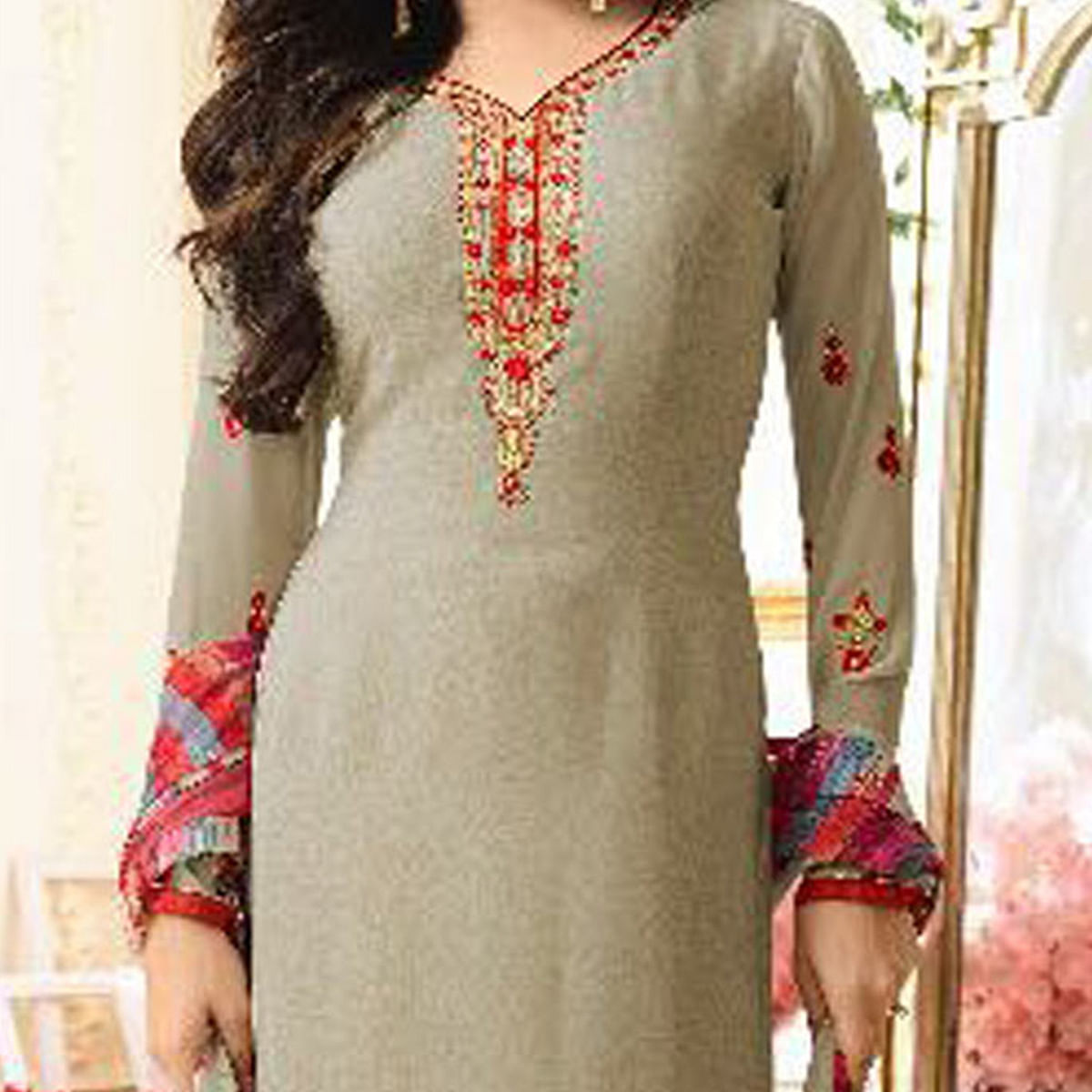 Attractive Grey Designer Partywear Embroidered Silk Salwar Suit