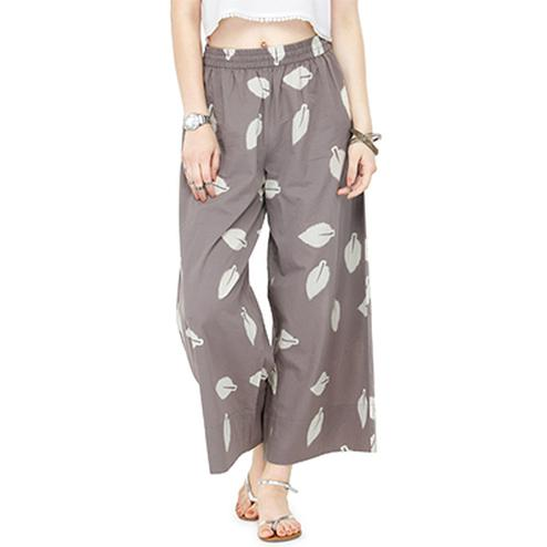 Grey Casual Wear Printed Cotton Palazzo