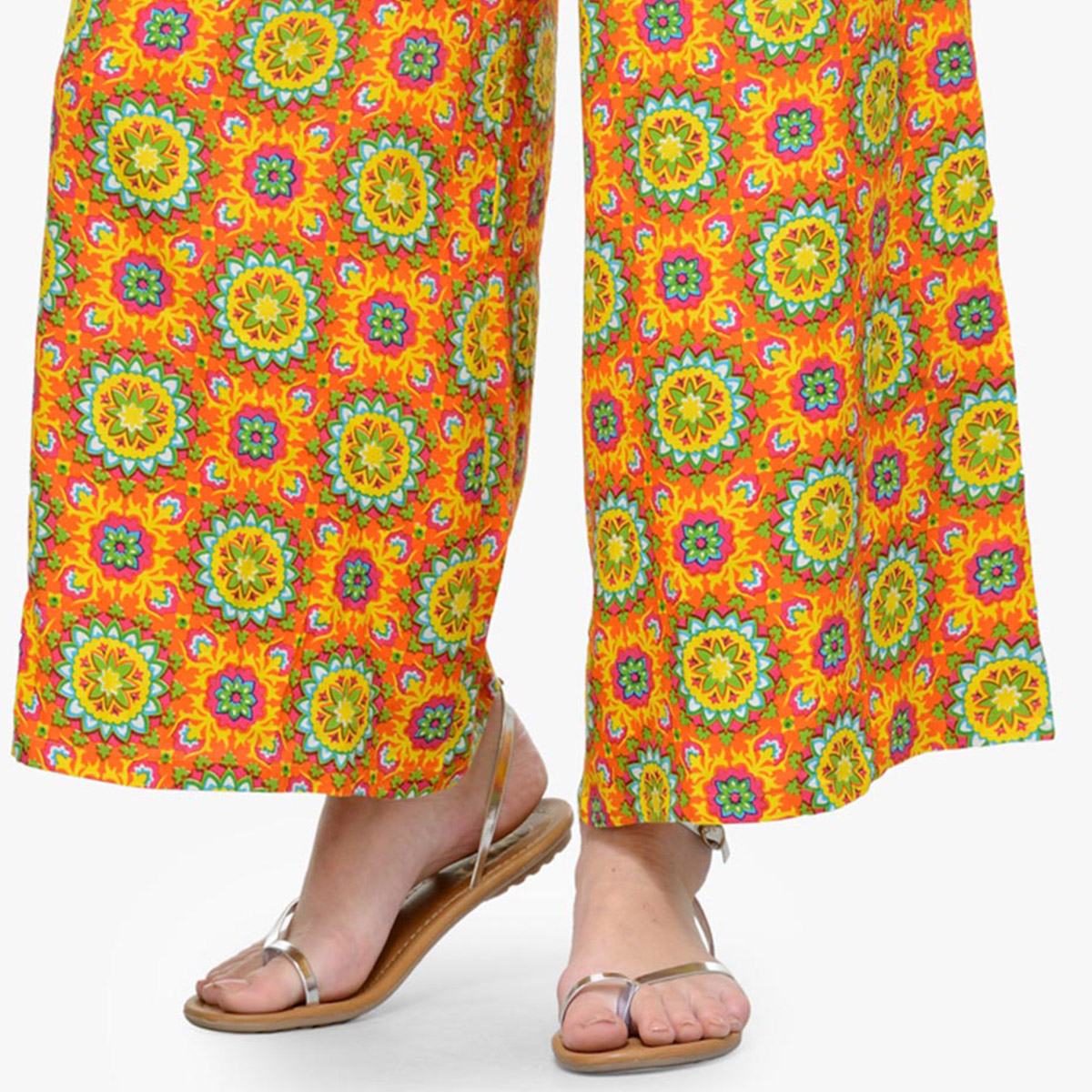 Orange Casual Wear Printed Rayon Palazzo