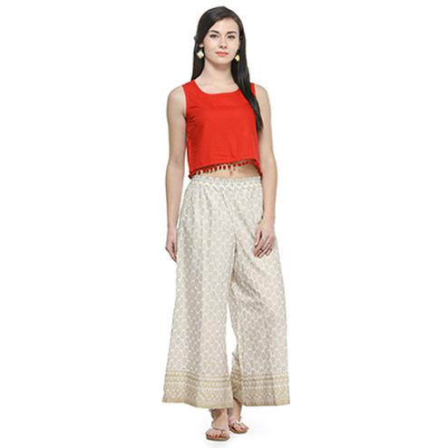 Off White Casual Wear Cotton Palazzo