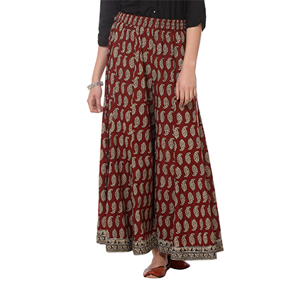 Maroon Printed Casual Wear Cotton Palazzo