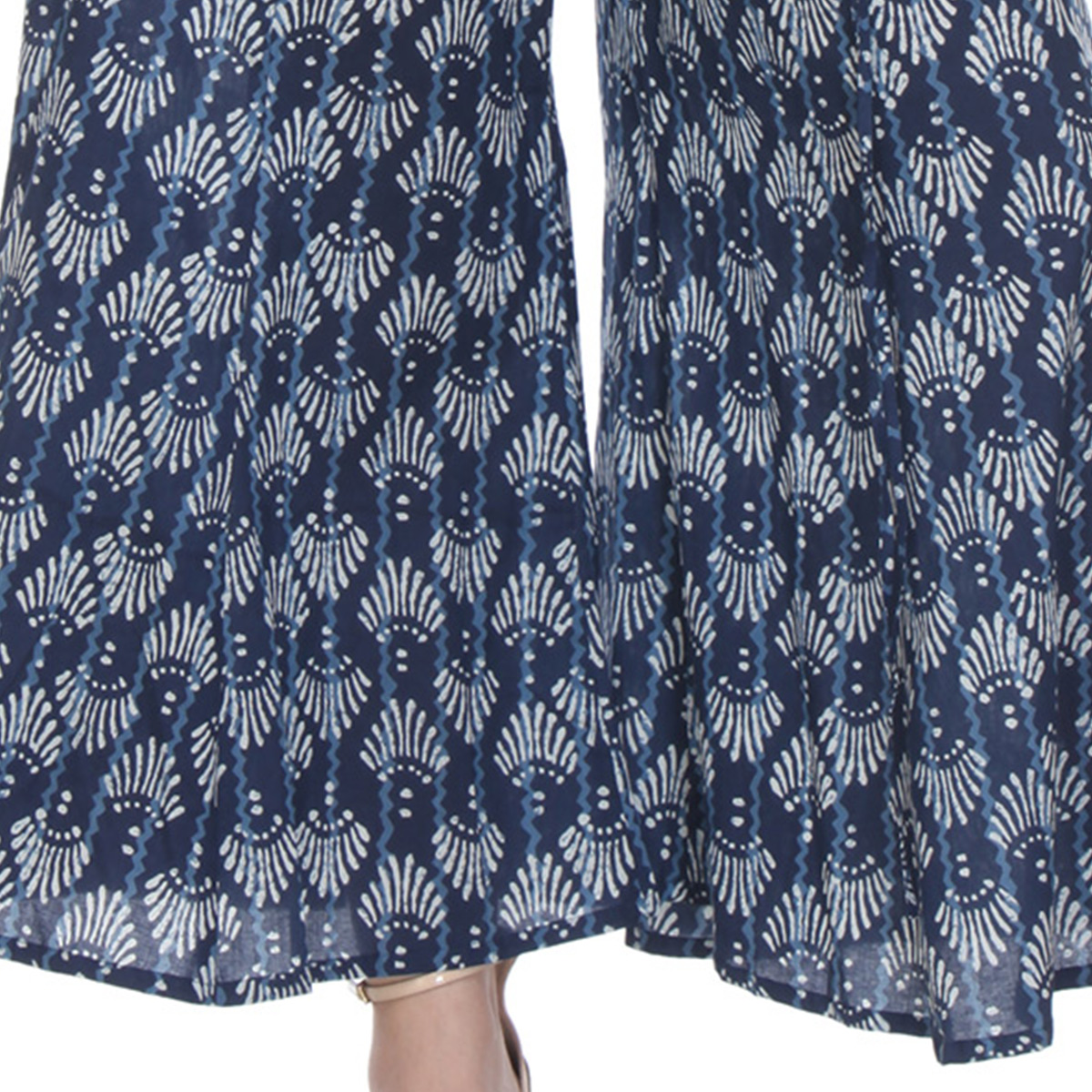 Navy Blue Printed Casual Wear Cotton Palazzo