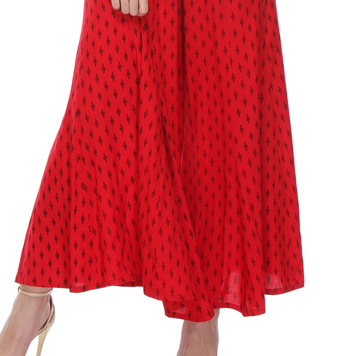 Red Printed Casual Wear Cotton Palazzo
