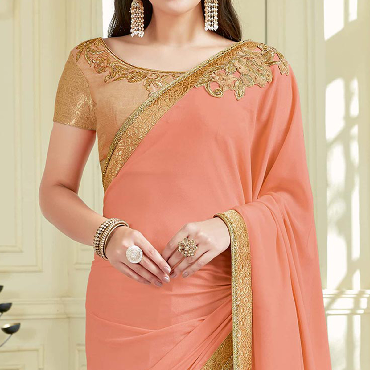 Desirable Peach Colored Designer Embroidered Work Party Wear Net Saree