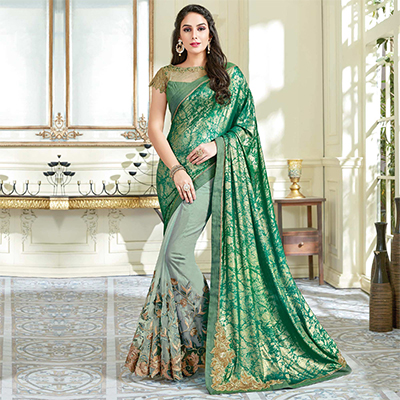 Sophisticated Green Colored Designer Embroidered Work Party Wear Net Saree