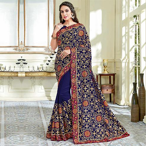 Demanding Navy Blue Colored Designer Embroidered Work Party Wear Georgette Saree