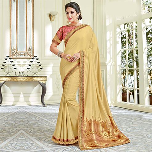 Elegant Cream  Colored Designer Embroidered Work Party Wear Silk Saree
