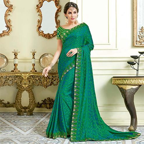 Alluring Rama Green Colored Designer Embroidered Work Party Wear Dual Tone Jacquard Silk Saree