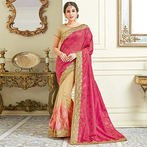 Radiant Pink - Cream Colored Designer Embroidered Work Party Wear Silk Saree