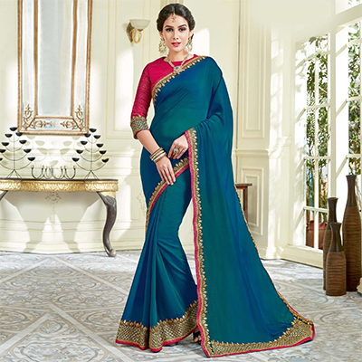 Sensational Teal Blue Colored Designer Embroidered Work Party Wear Dual Tone Silk Saree