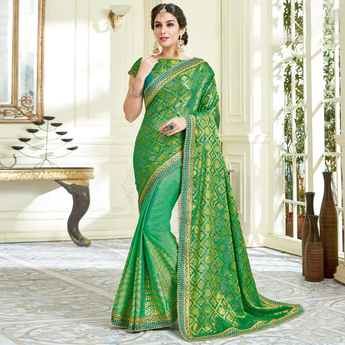 Opulent Green Colored Designer Embroidered Work Party Wear Dual Tone Silk Saree