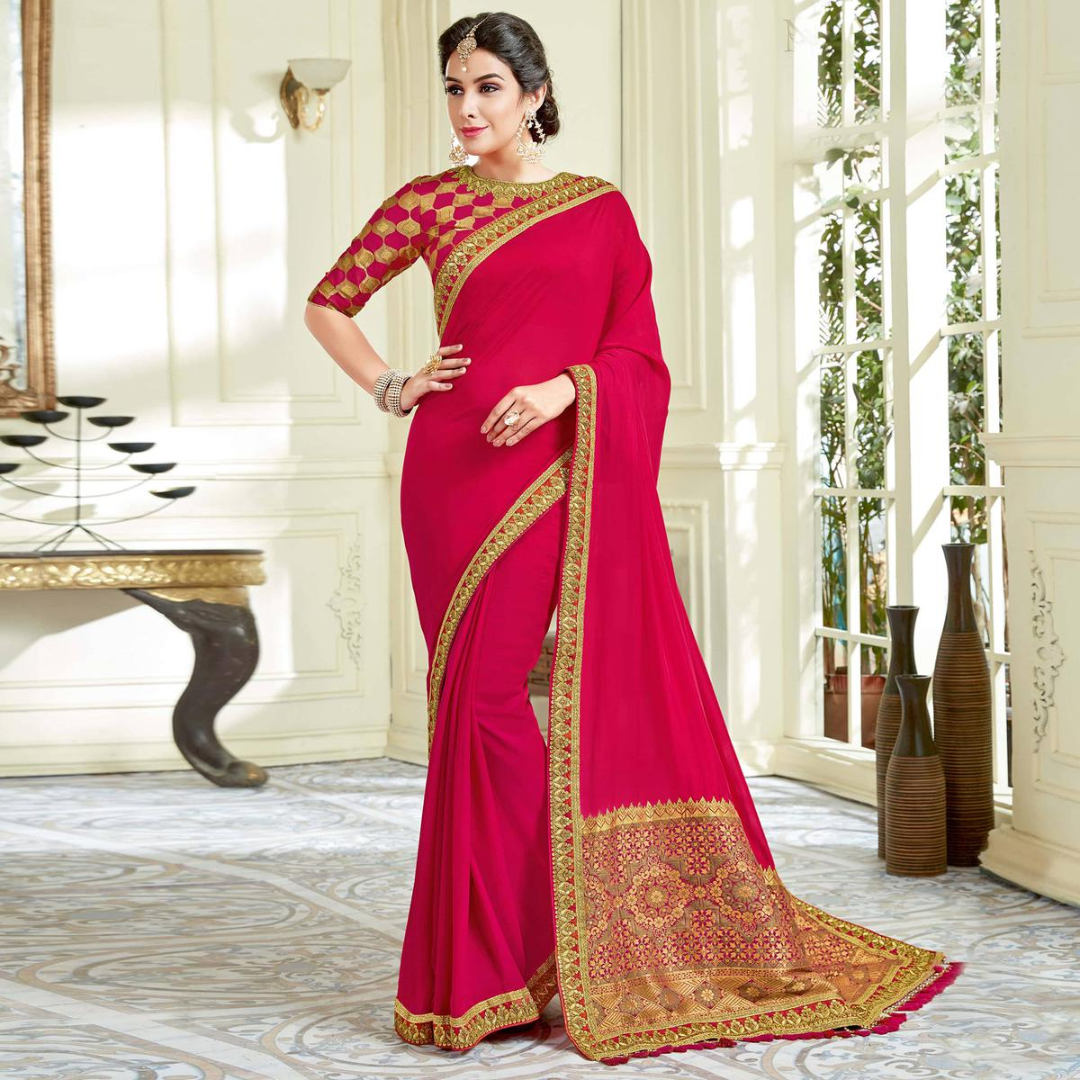Dazzling Deep Pink Colored Designer Embroidered Work Party Wear Dual Tone Silk Saree