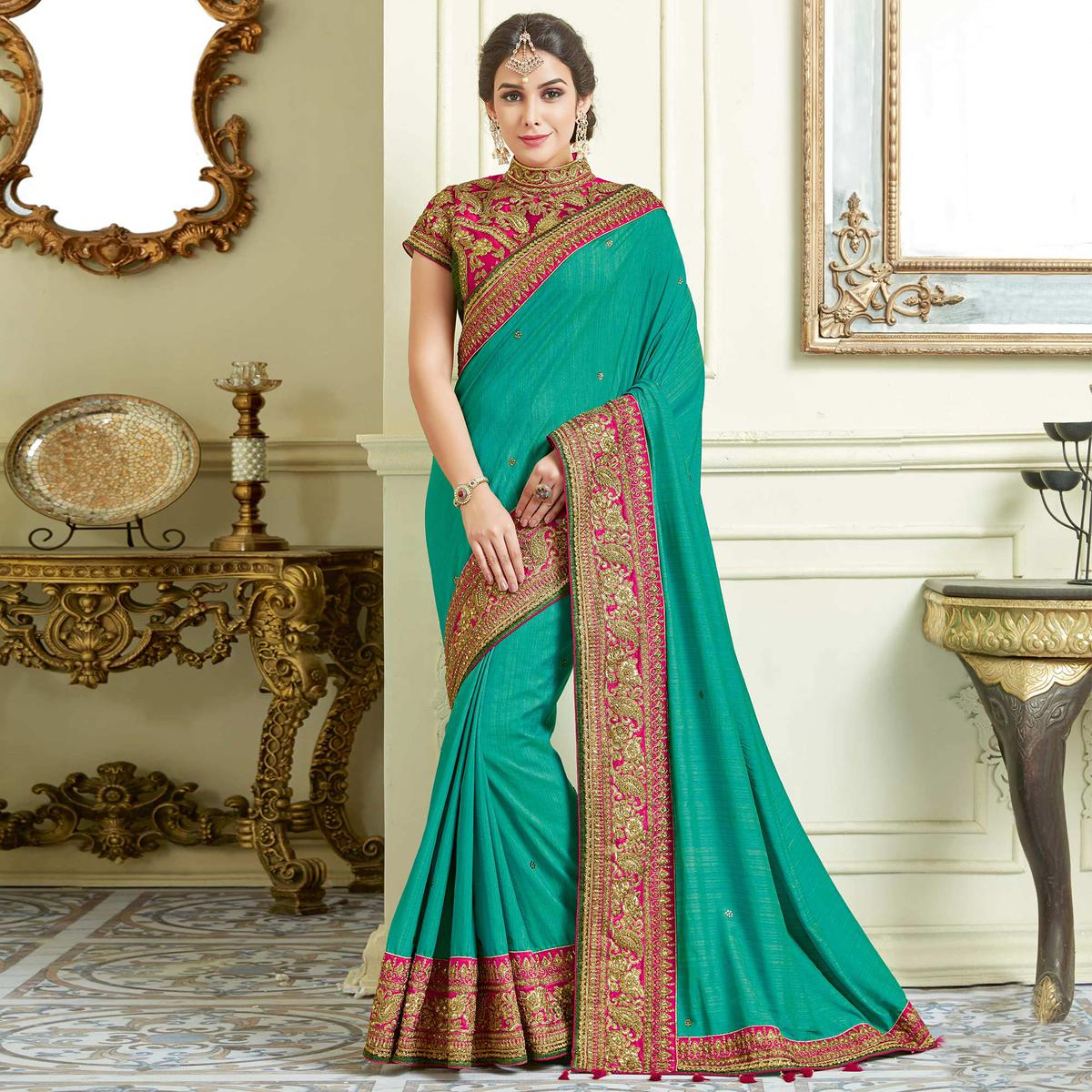 7620582476834 Buy Precious Rama Green Colored Designer Embroidered Work Party Wear Two  Tone Silk Saree for womens online India