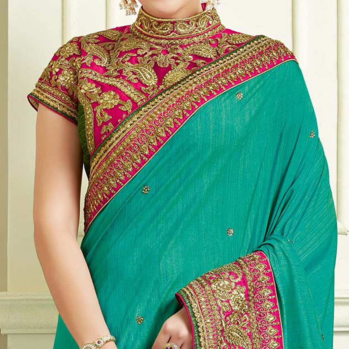 Precious Rama Green Colored Designer Embroidered Work Party Wear Two Tone Silk Saree