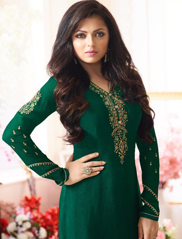 Sizzling Green Designer Partywear Embroidered Silk Salwar Suit