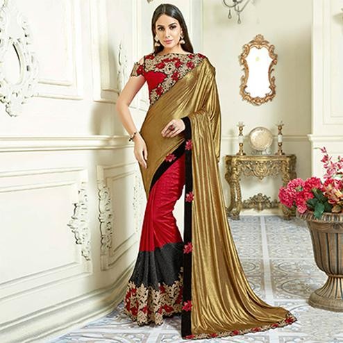 Awesome Red - Gold Colored Designer Embroidered Work Party Wear Lycra Saree