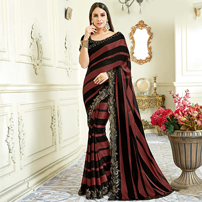 Snazzy Black - Brown Colored Designer Embroidered Work Party Wear Satin Silk Saree