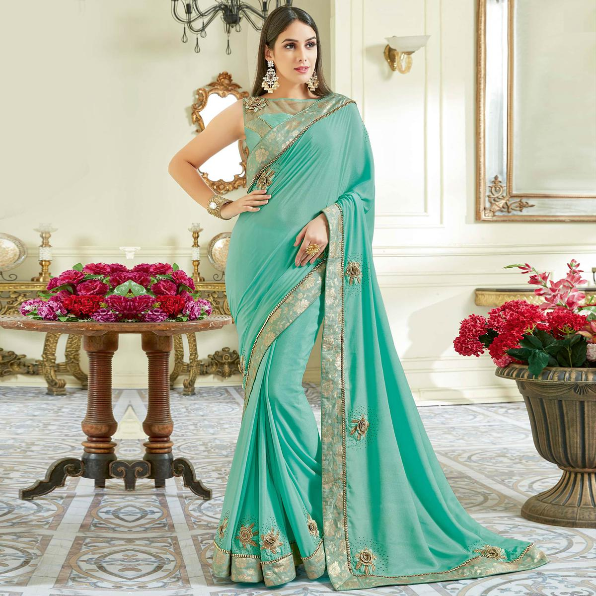 Capricious Light Blue Colored Designer Embroidered Work Party Wear Georgette Saree