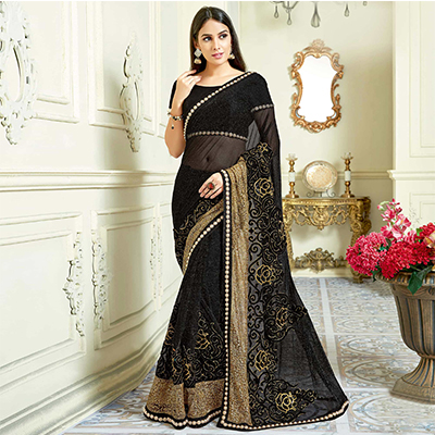 Marvelous Black Colored Designer Embroidered Work Party Wear Lycra Net Saree