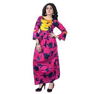 Pink Colored Designer Party Wear Cambric Cotton Kurti