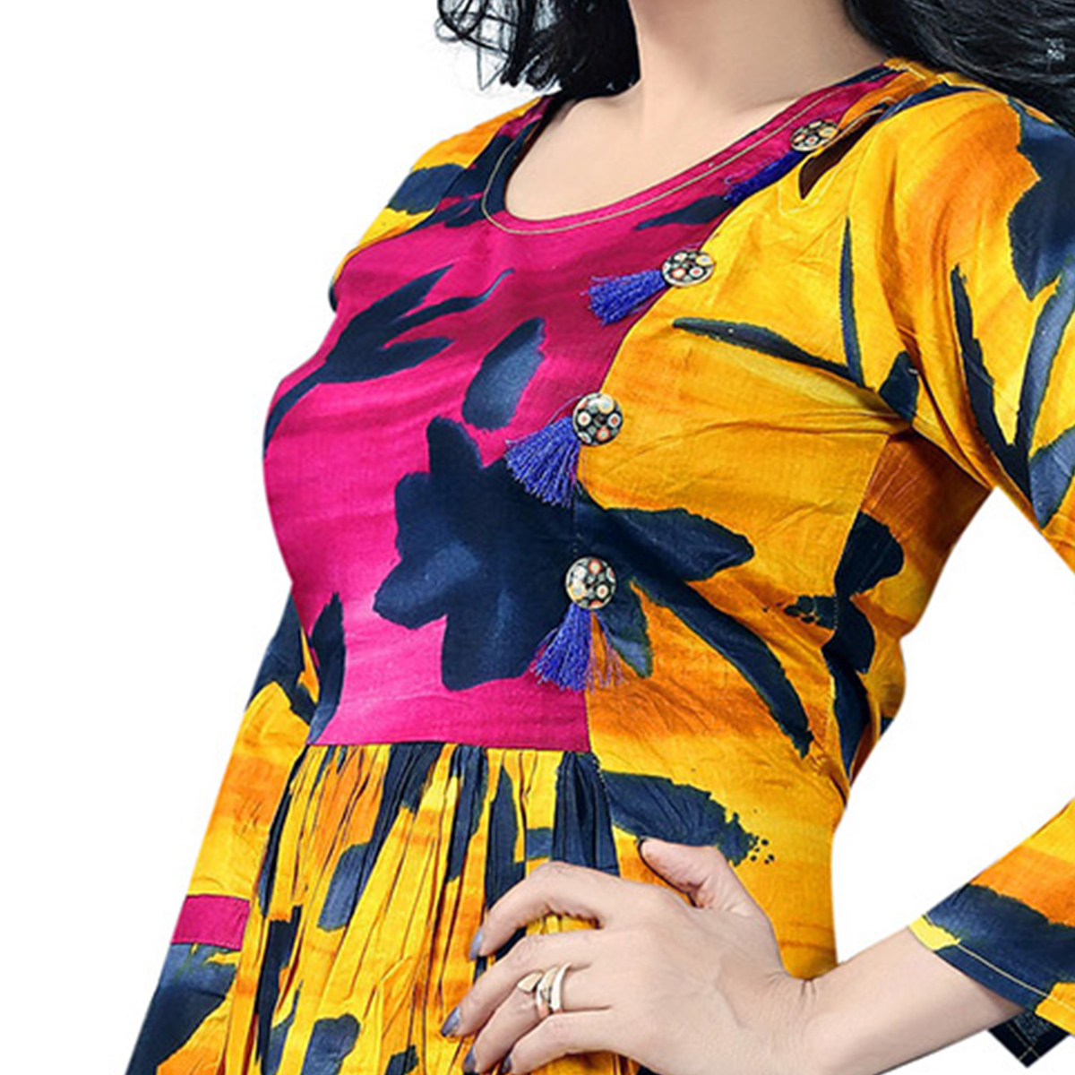 Yellow Colored Designer Party Wear Cambric Cotton Kurti