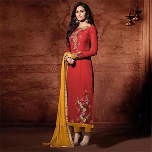 Georgette Embroidered Red & Yellow Classic Partywear Suit