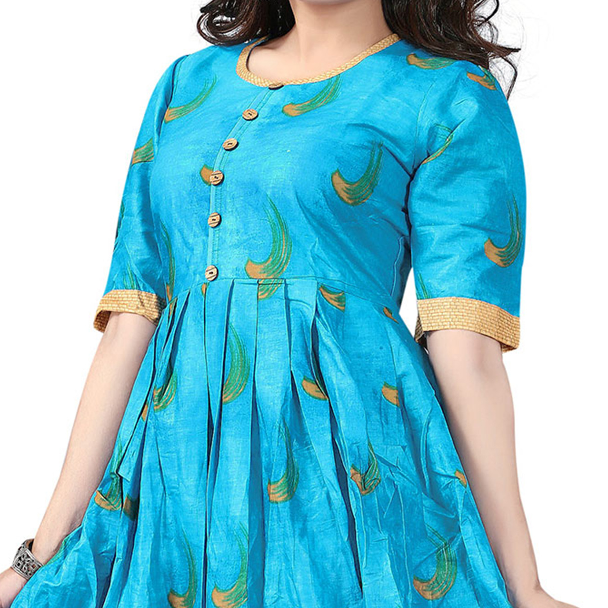 Sky Blue Colored Designer Party Wear Cambric Cotton Kurti