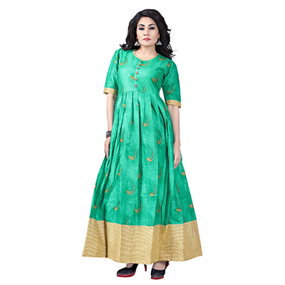 Green Colored Designer Party Wear Cambric Cotton Kurti