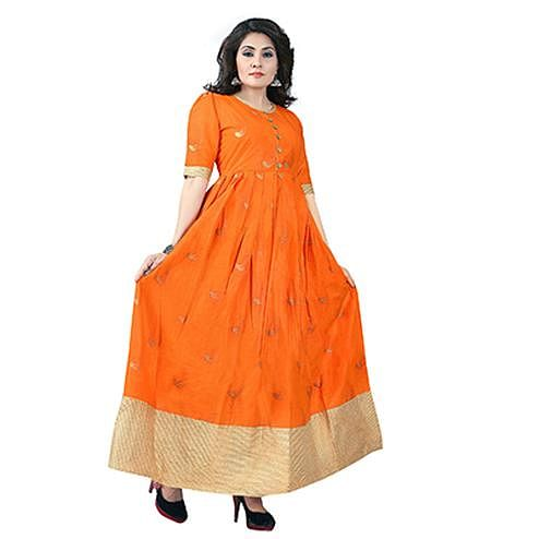 Orange Colored Designer Party Wear Cambric Cotton Kurti
