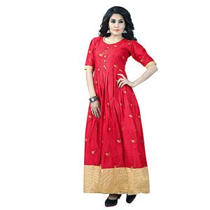 Red Colored Designer Party Wear Cambric Cotton Kurti