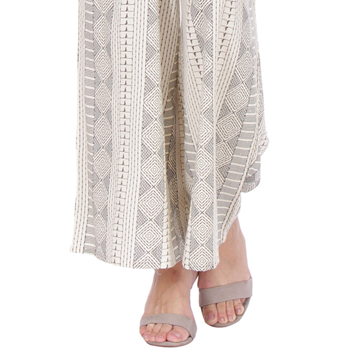 Off White Casual Wear Printed Cotton Palazzo