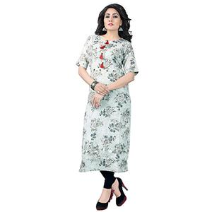 Grey Colored Designer Party Wear Cambric Cotton Kurti