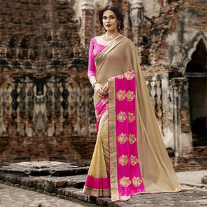 Cream - Beige Lycra & Georgette Half Saree