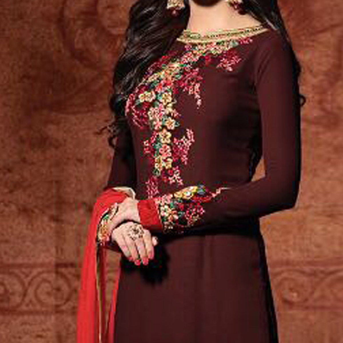 Georgette Embroidered Maroon & Red Classic Partywear Suit