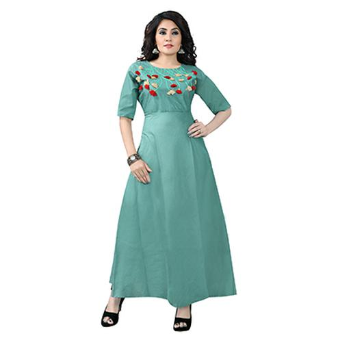Sea Green Colored Designer Party Wear Cambric Cotton Kurti