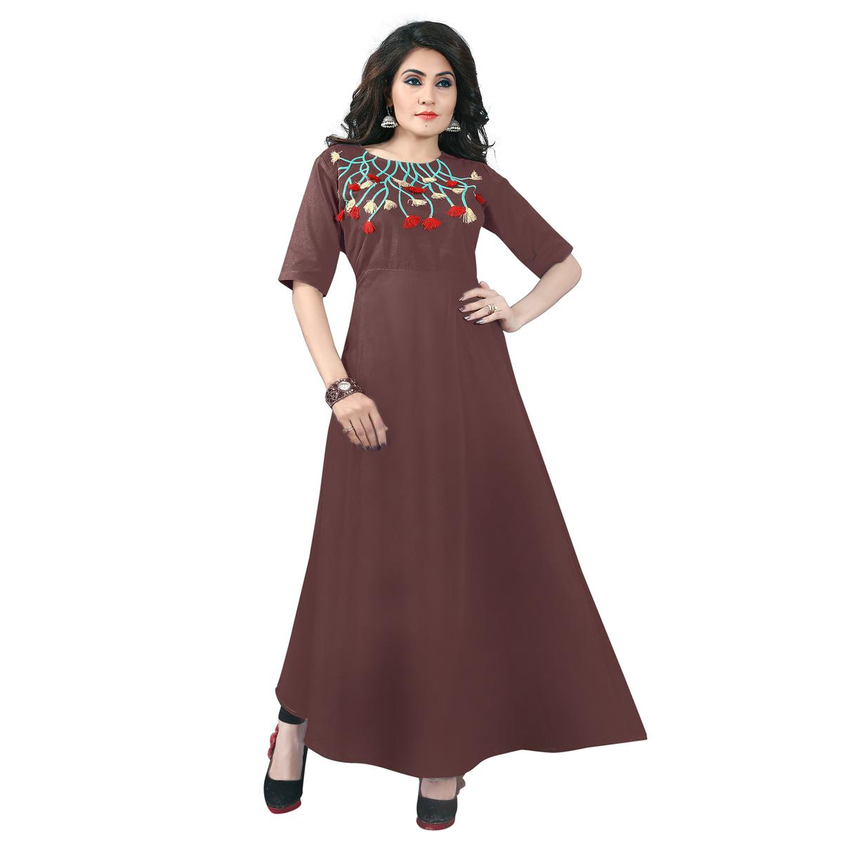 Brown Colored Designer Party Wear Cambric Cotton Kurti