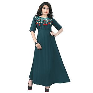 Teal Green Colored Designer Party Wear Cambric Cotton Kurti
