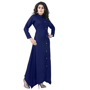 Navy Blue Colored Designer Party Wear Cambric Cotton Kurti