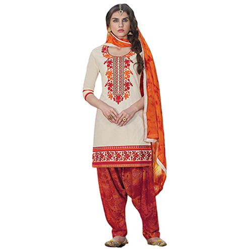 Pleasant Cream Colored Embroidered Cotton Dress Material
