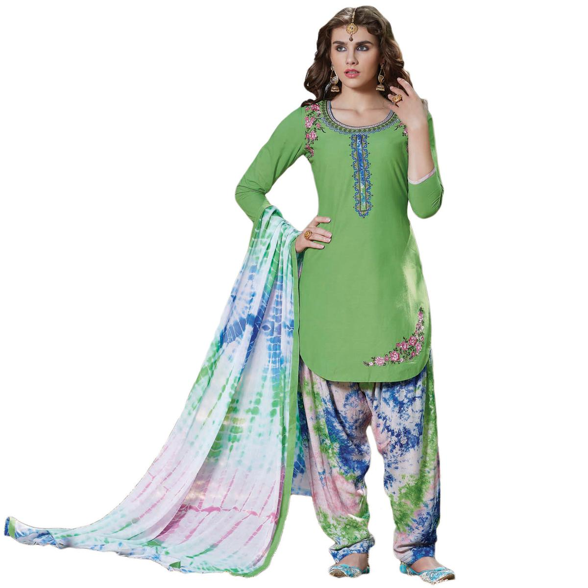 Arresting Green Colored Embroidered Cotton Dress Material